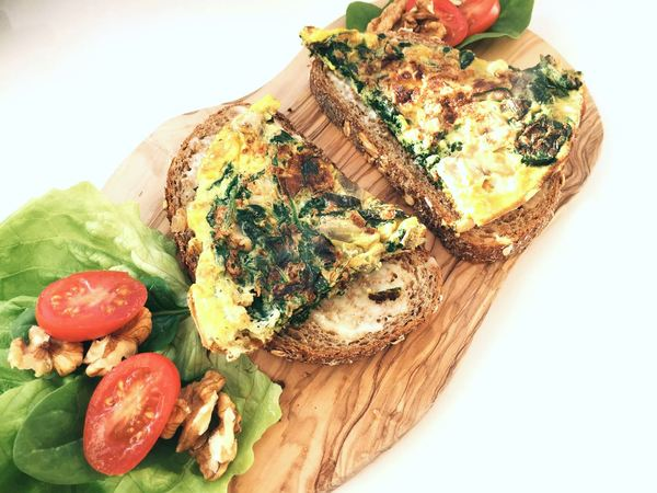 spinazie omelet lunch noten